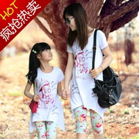 Family looke,2014 summer family sets clothes for girls dress family clothing for mother and daughter,cotton Children set clothes