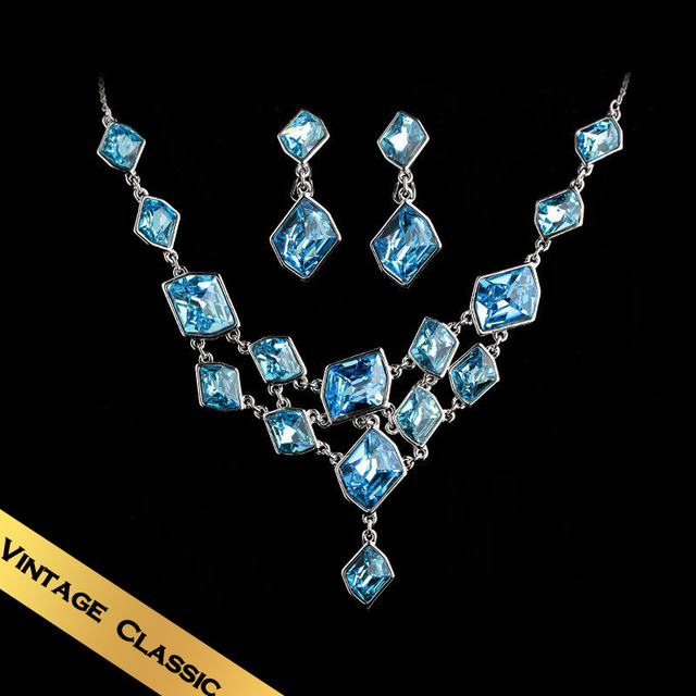 Special Necklace & Stud Earrings Jewelry Sets Austrian Crystal Classic Vintage Design Free Shipping Luxury Jewelry TZ01A21G2