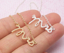 1PCS- N111 Fashion Simple Dainty Mrs Necklace Small Stamped Word Initial Necklace Tiny Love Alphabet Letter Necklaces(China (Mainland))