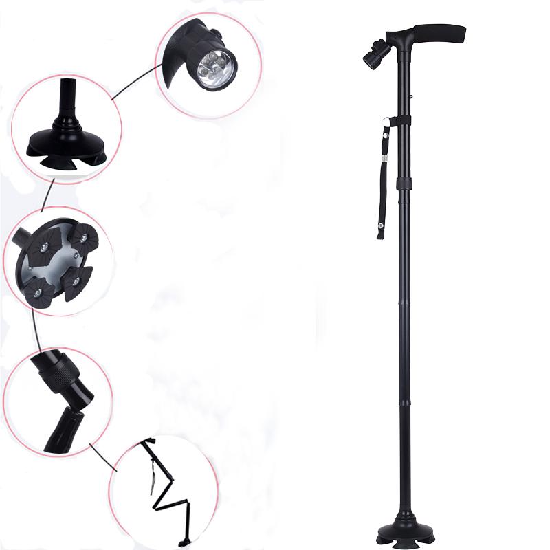 Adjustable Handle Folding Smart Cane With LED Lights Black Walking Stick HOT