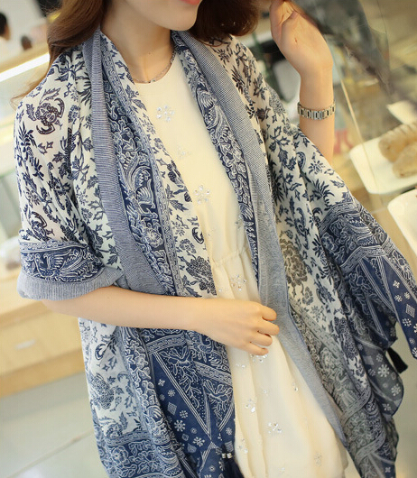 Весной и летом стиль шарф женщины тенденция синий и белый фарфор национального кашемира шарф кисточкой шарф ( C-005 )