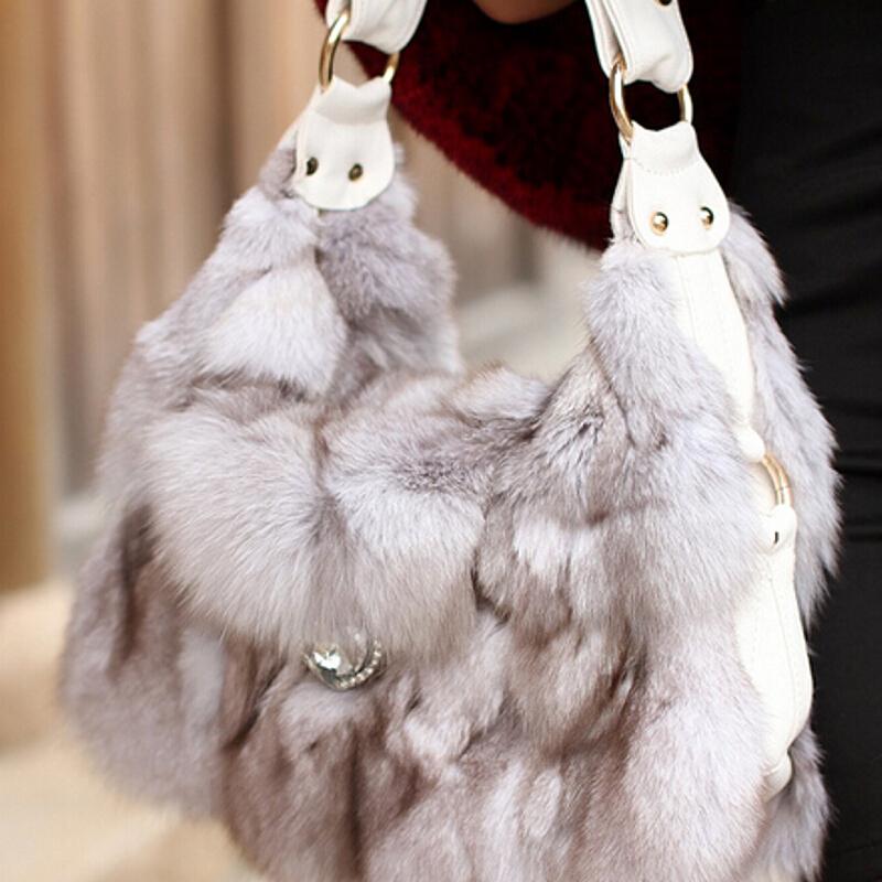 Chopop Fur 2015 Charming Women's fashion fur bag genuine fox fur handbags silver fox fur bag Free shipping(China (Mainland))