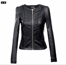 2016 spring and autumn short design slim PU leather jacket women faux leather motorcycle clothing female outerwear(China (Mainland))