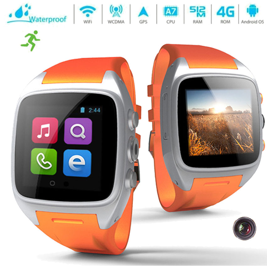 Cheapest Android 4.4 Smart watch Cell Phone 4G Rom 3MP Camera GPS WIFI Bluetooth For Apple Android GSM/WCDMA Health Fitness Step(China (Mainland))