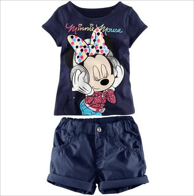 Girls Wear Children's Sets Minnie Short Sleeves T-shirt + Shorts Suits Pullover Tees Tops Elastic Pants Blue Cartoon Cotton(China (Mainland))