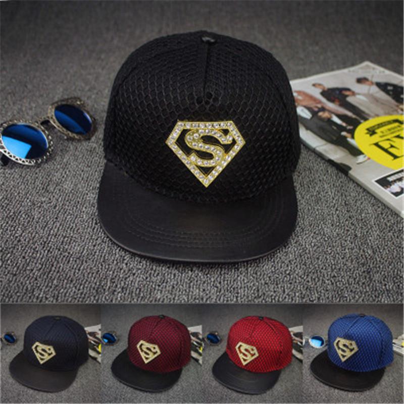 2016 new diamond Superman logo hats hip hop street skateboarding boy cap snapback adjustable baseball cap hat men(China (Mainland))