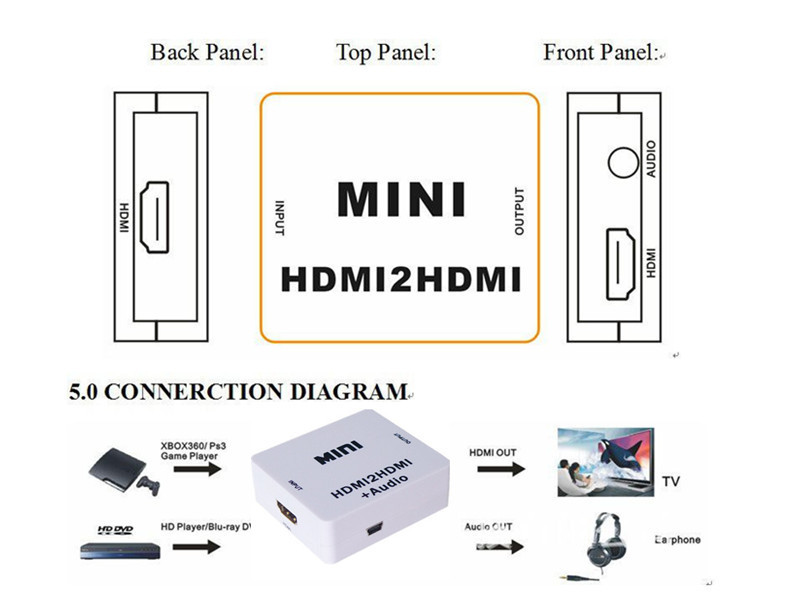 Newest Mini HDMI2HDMI Audio 1080P Decoder Converter HD HDMI to HDMI + audio apater For PC Laptop Computer to HDTV Projector(China (Mainland))