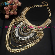 Big Fashion Exaggerated Brand Style Multi ethnic Women s White K Gold Plated Chains Necklace Evening