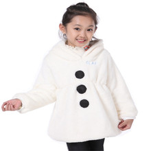 2015 New Christmas Girl Jacket Cartoon Children Olaf Kids Coats Snowman Winter Jackets Outerwear Clothing Casual Costume