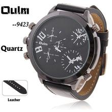 2014 Top moda corrió reloj Oulm 9423 Adventure time multifunción tres movt reloj de cuero para hombre con forma redonda