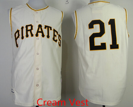 Mens stitched Cheap Cream Pittsburgh Pirates  8 Willie Stargell  21 Roberto Clemente VINTAGE Baseball Vest Jersey(China (Mainland))