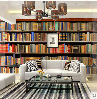 Large pvc self adhesive bookshelf wall murals wallpaper for Bookshelf wall mural