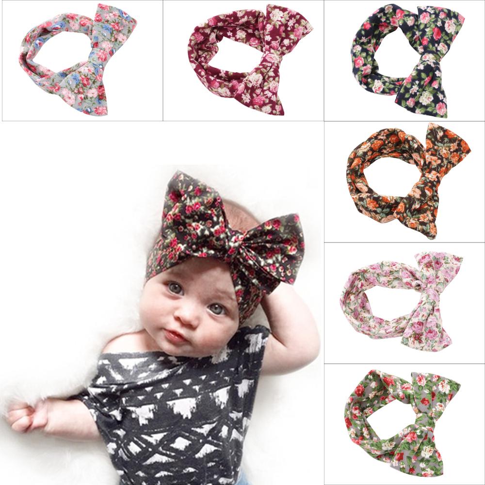 Cute Fashion Infant Baby Girls Hair Accessories Kids Toddler Dot Bows Hairband Turban Knot Rabbit Headband Headwrap Bandage 6pcs(China (Mainland))