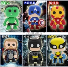 6PCS/Lot Marvel The avengers DIY colour clay Batman Wolverine Hulk Action figures learning& education super hero Christmas gift