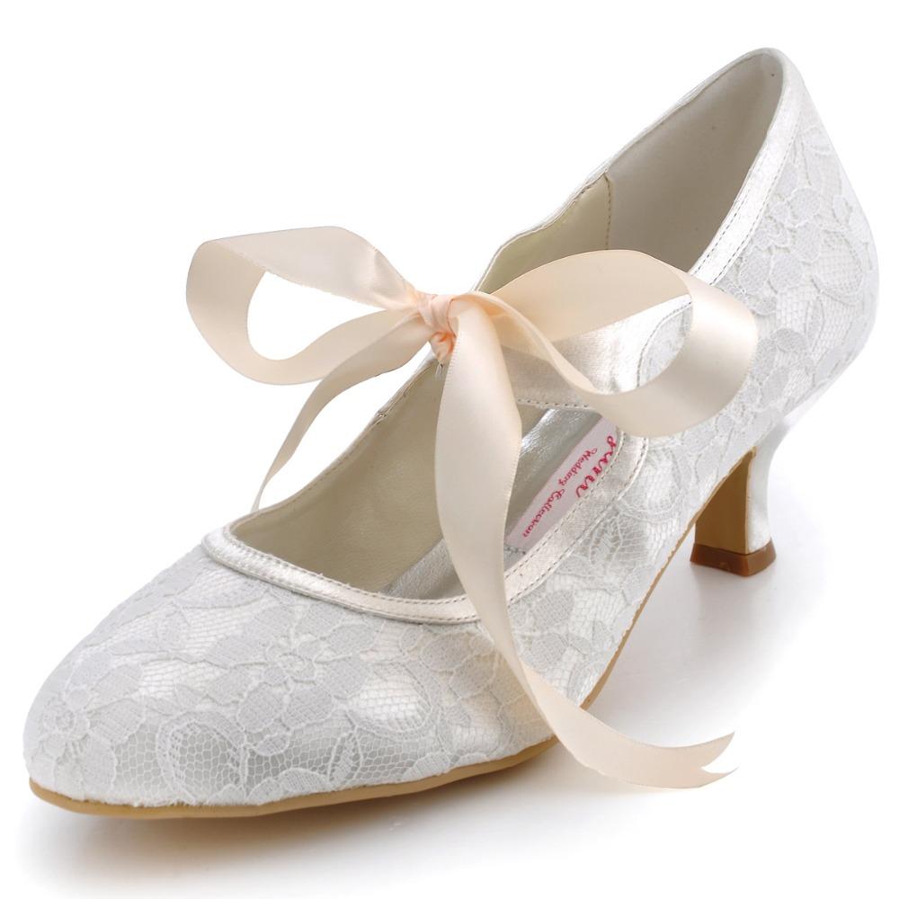 Ivory Wedding Shoes Kitten Heel