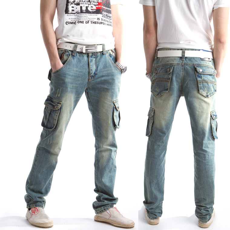 free shipping mens fashion pocket thickening jeans male