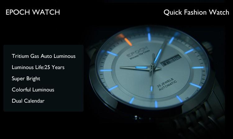 ЭПОХА 6023GN водонепроницаемый 100 м газообразного трития световой мужская бизнес механические часы наручные часы