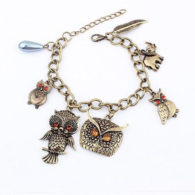 Korea Fashion Alloy Bronze Owl Elephant Leaves Pendant Bracelet For Girl B64