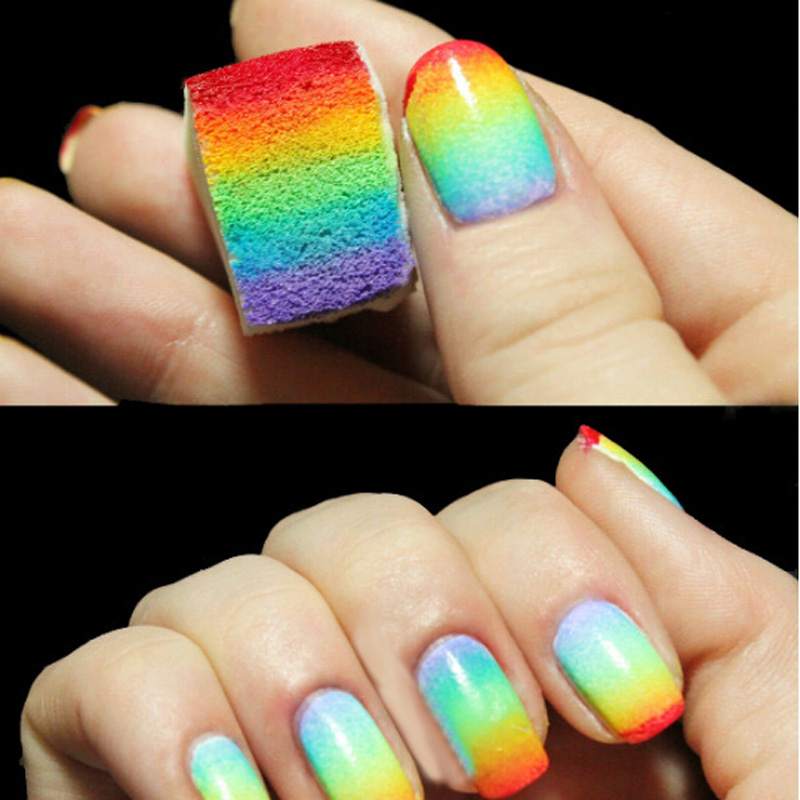 Free Shipping 8 PCS Soft Nail Art Polish Stamping Stamper Kit Gradient Sticker Brushes Nail Sponge GUB#(China (Mainland))
