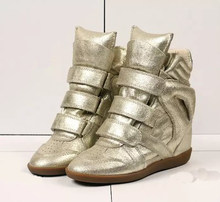 Chính hãng Ủng Da Cá Nữ Cao-TOP Nêm Gót Giày Thời Trang Tăng Trong Vòng Nữ Giày Nữ zapatillas mujer 2019(China)