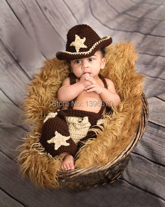 Newborn Infant Baby Photography Prop Handmade Knit Crochet Cowboy Hat cap Diaper Overall Boy Set(China (Mainland))