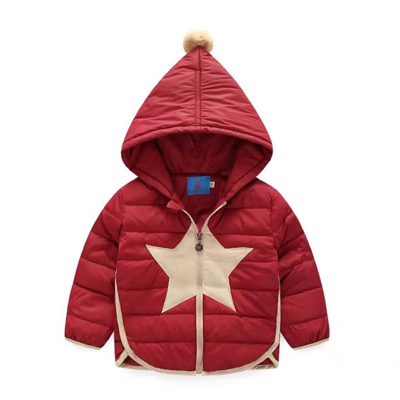 110-140cm Cute Ball Star Children Boys Outerwear Hooded Warm Down Coat Children's Winter Girls Jackets Girls Outerwear Coats(China (Mainland))