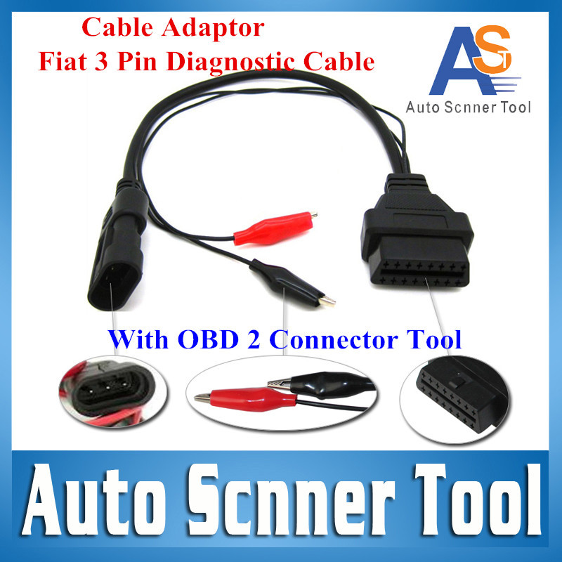 3 Pin FIAT OBD OBD2 Fiat 3Pin Adapter OBD 2 OBD Fiat 3 Pin Diagnostic Cable Male To 16 PIN Female With ObdII Connector Tool(China (Mainland))