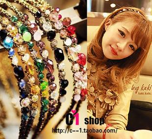 Free Shipping,Korean Multiclolor Crystal Rhinestone Stunning Hair Band Headband F034