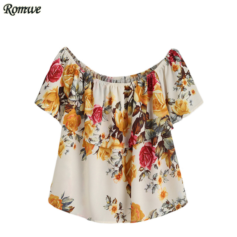 ROMWE Ruffled Off-The-Shoulder Blouses Womens Summer Tops Multicolor Flower Print Short Sleeve Casual Slim Blouse(China (Mainland))
