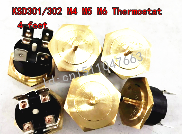 KSD301 M4 M5 M6 screws Hex head copper Thermostat 4-feet  85 degree NC 250V manually reset KSD302 40C-150C temperature switch <br><br>Aliexpress