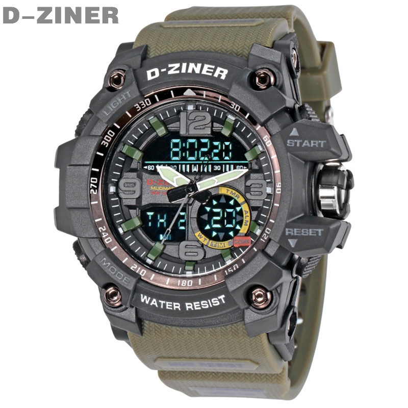 2017 New Brand D-ZINER Watch Men Military Sports Watches Casual Waterproof LED Digital Watch for Men Clock Quartz Digital-watch(China (Mainland))