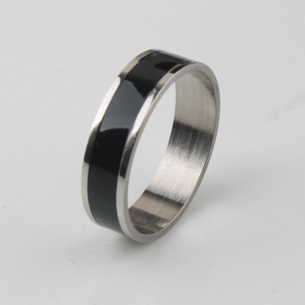 CM560 new Fashion width of 6mm Glossy Black Titanium Stainless steel rings fashion new style Finger