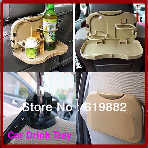 P128- - Free Shipping Beige Car Back Seat Drink Stand Foldable Bottle Rack Holder Travel Dining Tray Foot Table(China (Mainland))