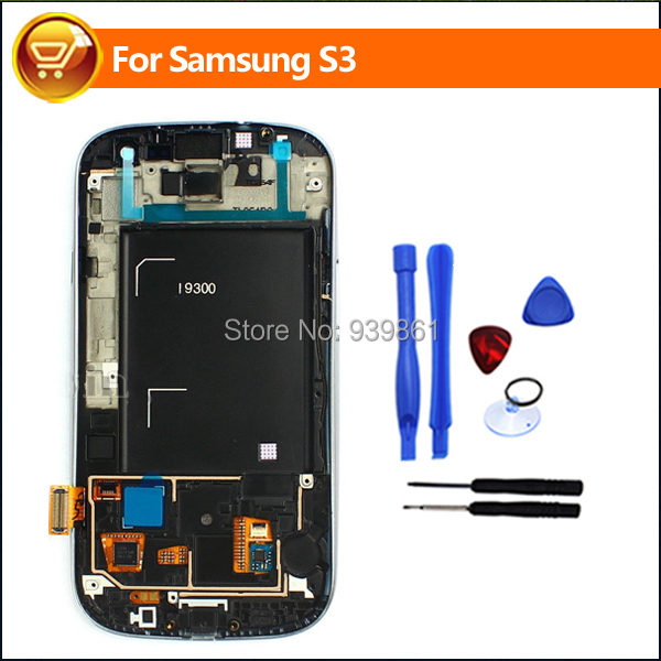 Original Black Color LCD Screen + Touch Screen Digitizer with Frame Assembly For SamSung Galaxy S3 S III i9300 Free shipping(China (Mainland))