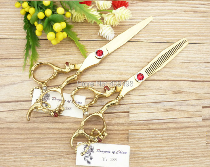VG10 stainless steel gold 6.0 inch hair  thinning scissors hairdressing cutting shears<br><br>Aliexpress