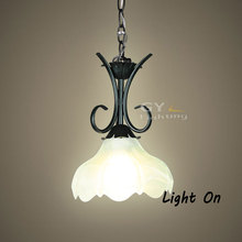 Simple Rustic Wrought Iron Pendant light Lamp E27  bulb  Black Chain Art Deco down glass Lampshade porch light GY-YLB-D102(China (Mainland))