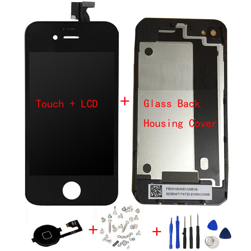 LCD Display Digitizer + Touch Screen + Glass Back Housing Cover + Home Button + Screw Tools Replacement Part For iPhone 4 4G 4S(China (Mainland))