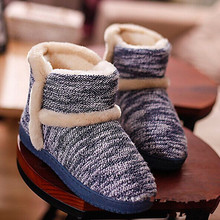 New Winter Men and Women Cotton Shoes Couple Knitted Thicken Plush Warm Indoor Boots Non-slip Soft Bottom Shoes Home Floor(China (Mainland))