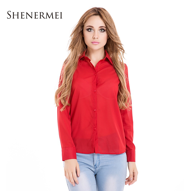 New Casual Blouses 2015 Women Shirt Blouse Spring Autumn Chiffon Tops Elegant Summer Style OL Turn Down Solid Blusas Femininas(China (Mainland))