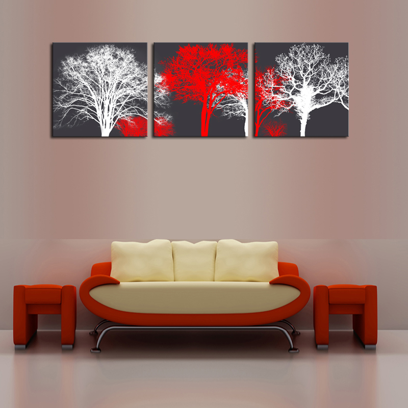 Unframed 3 Panels White Red Trees Landscape Canvas Print Painting Modern Canvas Wall Art for Wall Decor Home Decoration Artwork(China (Mainland))