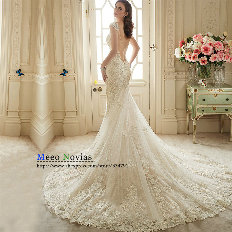 Vestido De Noiva Renda 2016 do laço do Vintage Backless Casamento Vestidos De Noiva Sexy sereia Vestidos De Casamento 2016 Vestidos Casamento Civil
