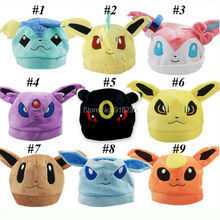 Free Shipping New Pokemon Sylveon Umbreon Eevee Espeon Jolteon Vaporeon Flareon Glaceon Leafeon Hat Plush Lovely Caps(China (Mainland))