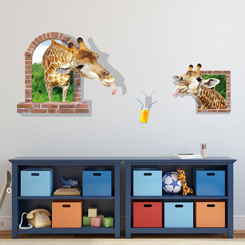 Buy funny giraffe 3d wall sticker for Funny home decor