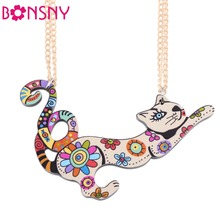 Bonsny Cat Necklace Acrylic Pattern 2016 News Collar Pendant Accessories Animal Fashion Jewelry Famous Brand Unique(China (Mainland))
