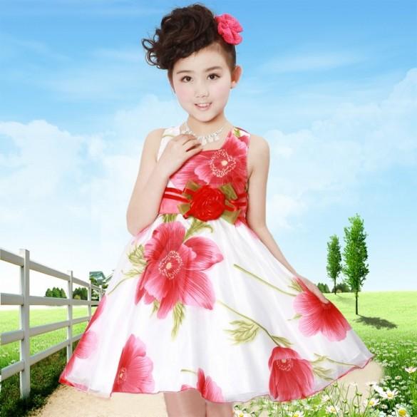 New Summer Girls dresses Lovely Baby Kids Children's princess Sundress Girls Party elegant dress Children Clothing 2-9Y 38(China (Mainland))