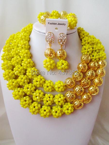 Luxury! Fashion Opaque yellow crystal ball costume jewellry nigerian wedding african beads jewelry set ABC215<br><br>Aliexpress