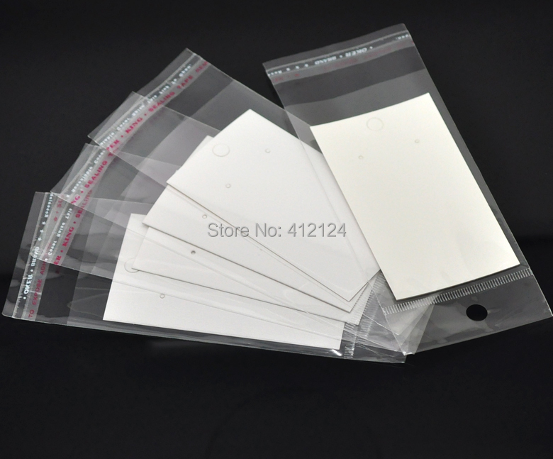 2500 Wholesale Earring Display Cards Paper White Self-Adhesive Bags Jewelry DIY Component 9x5cm<br><br>Aliexpress