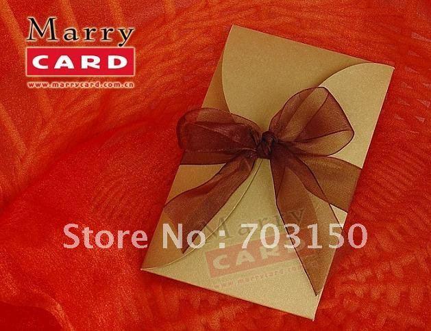gold elegant wedding invitation cards with coffee ribbon,wedding cards,greeting cards 100pcs/lot + Free shipping