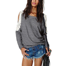 New Spring Autumn Blusas 2016 Women Casual Lace Crochet Splice Tops Sexy Off Shoulder Long Sleeve Shirts Hoodies Sweatshirts(China (Mainland))