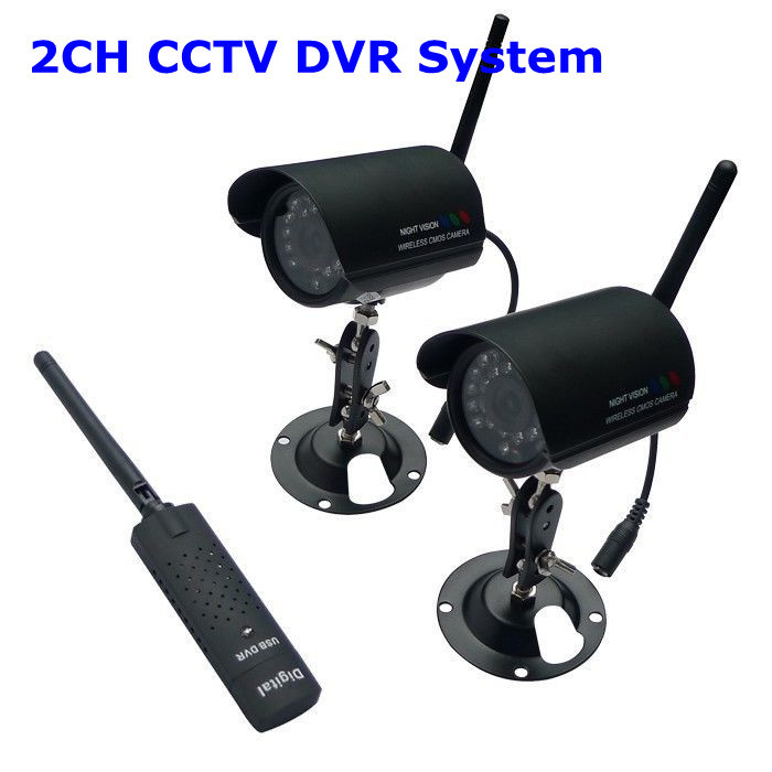 USB Digital Network Wireless 2CH CCTV Security Surveillance IR Camera DVR System(China (Mainland))